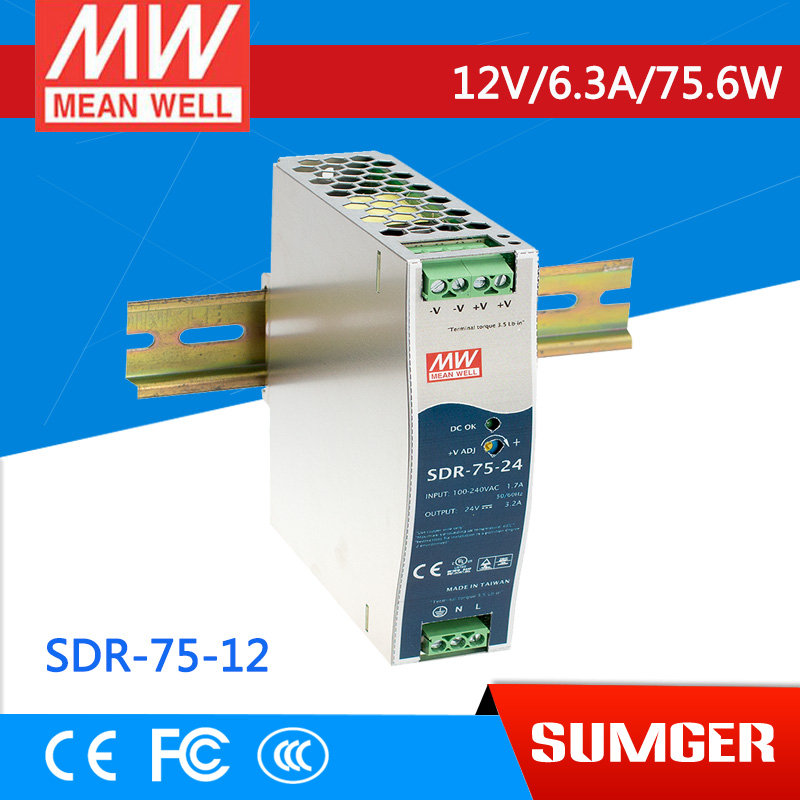 [MEAN WELL1] original SDR-75-12 12V 6.3A meanwell SDR-75 12V 75.6W Single Output Industrial DIN RAIL with PFC Function<br>