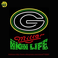 Miller High Life Green Bay Packers NFL NEON SIGN Neon Bulb Handcrafted Recreation Room Glass Tube Affiche Window Light 26x24 VD(China)