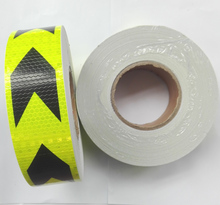 5CM x 45Meter,Commercial Grade Reflective tape for truck, Lime-green with arrow printing,Free shipping to lots countries.(China)