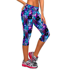 2017 Women Fitness High Waist Sporting Capri Cropped Leggings Workout Bodybuilding Gymming Runs Pants Exercise Yogaing Clothing(China)
