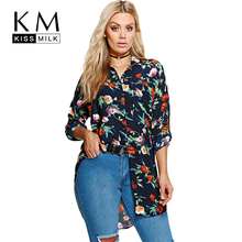 Kissmilk Women Plus Size Floral Print Chiffon Blouses Longline Button Down Long Sleeves Shirts Vintage Tops Large Size(China)