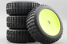 4pcs 1/8 Buggy Off Road Tire Tyre Shout Dish Apple Green Rim Fit For 1:8 Buggy Car 1/8 Tire 22066+26012(China)
