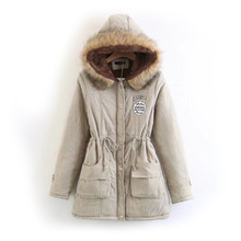 Women Thickened Down Jacket Fashion Warm Hooded Fur Collar Cotton Overcoat Self-cultivation Berber Fleece Women Jacket Coat(China)