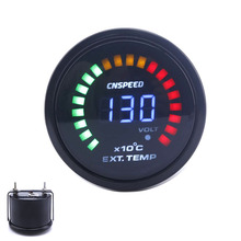 "CNSPEED 2""52mm 12V Car Auto Exhaust Gas Temp Gauge Digital EGT With Sensor 20 LED Car EXT Temperature Meter TO101277(China)"