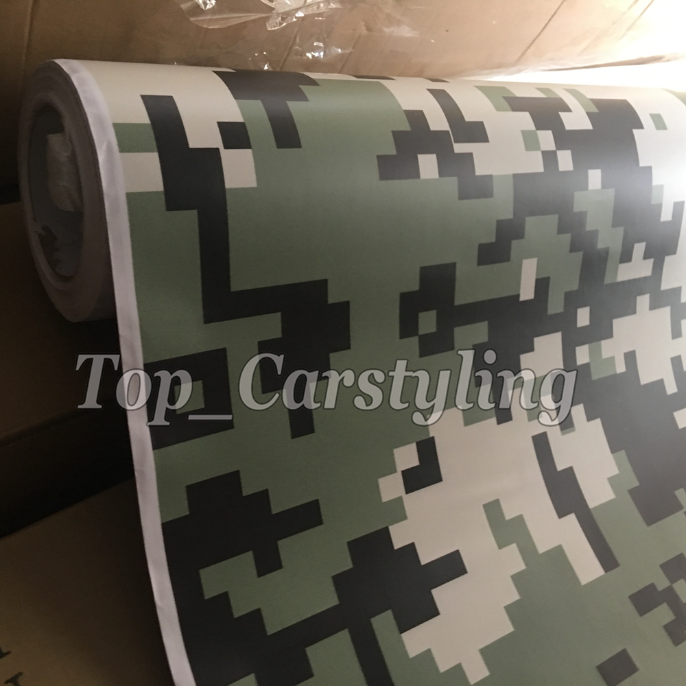 military digital camoulfage vinyl car wrapping film green black foil camo ubran (2)