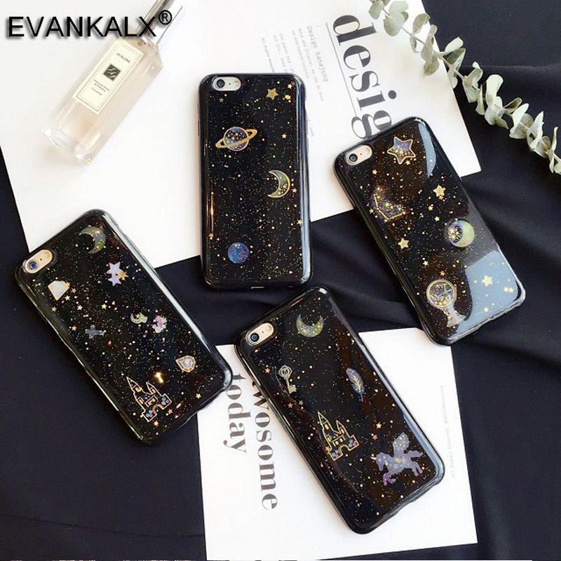 iPhone 7 8 Glitter Bling Case iPhone 7 Plus Funny Univers Shining Phone Cases iPhone 7 6 6S 8 Plus Back Capa Cover
