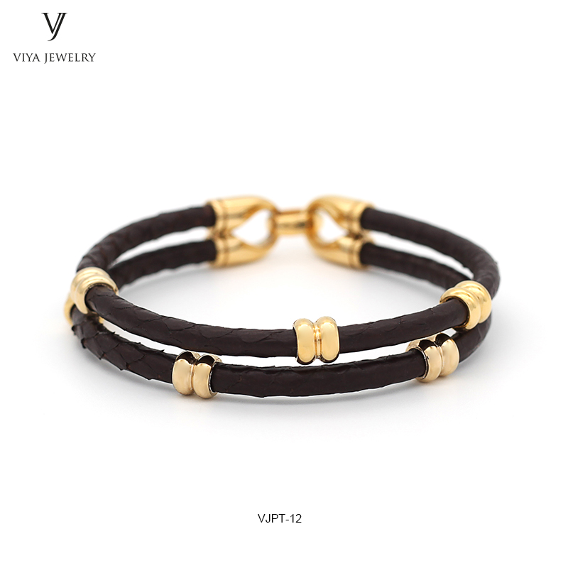 GENUINE PYTHON LEATHER MEN BRACELET WITH GOLD COLOR STAINLESS STEEL BEADS CLASP,BEST GIFT FOR MATCH UP WATCH (5)