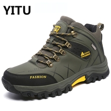 Men Fur Winter Snow Boots Autumn Non-Slip Men Climbing Outdoor Mid Hiking Mountain Sport Trekking Shoes Waterproof Men Footwear(China)