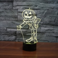 Novetly gift 3D lights colorful pumpkin people LED visual decoration USB lamp with Touch switch Halloween Party decoration