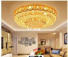 Free Shipping Modern Golden LED K9 Crystal Lighting Ceiling Lamp D80cm Modern Light Bedroom Lamp Remote Controller Ceiling Light