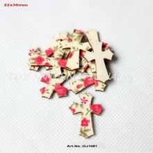(120pcs/lot) Fabric Topper Wood Back Easter Cross Crafts Scrapbooking Art Parties Project  30mm-GJ1081