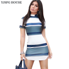 YJSFG HOUSE Casual Stand Collar Mini Striped Dress 2017 Summer Women Short Sleeve Office Work Dress Elegant Ladies Bodycon Dress