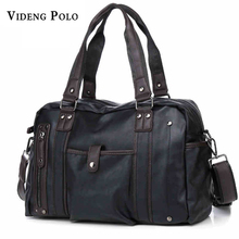 VIDEG POLO Brand Men Handbags Men's Casual Tote Vintage Solid Leather Shoulder Bag Business Laptop Briefcase For Men Travel Bags(China)