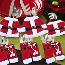 6 Pcs/Set Christma Toys ornaments Decoration Merry Sweet Santa Silverware Holders Pockets christmas decorations for home hot