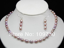 Free shipping Jewelry 00615 Genuine Cultured Purple Pearl Jewelry Set 925S Clasp(China)