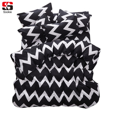 Sookie Modern Geometric Print Bedding Set Black and White Style Duvet Cover Bed Sheet Pillowcase 4pcs Queen King Size Bed Linen(China)