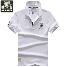 AFS JEEP 2017 Polos Man Short Sleeve Brand Cotton Embroidery Logo Polo Shirt Men Plus Size M-3XL Turn-down Collar Polo Homme