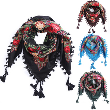 2018 Hot Sale New Fashion Woman Scarf Square scarves short Tassel Floral printed Women Wraps Winter lady shawls Headband(China)