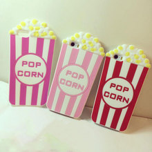 Fancy 3D Cartoon Cute Popcorn Soft Silicon Skin Shell For APPLE iPhone 5 5s 6 6s 6plus Fashion Stylish Cell Phone Cover Case