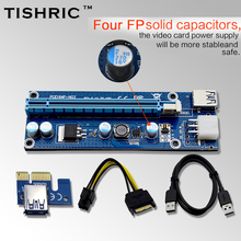 10pcsTISHRIC VER006C Blue 60cm PCI-E PCE Express Riser Card 1X to 16X Extender USB3.0 Cable SATA to 6Pin IDE Power For BTC Miner