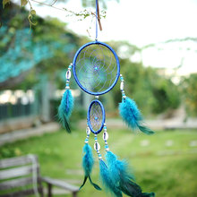 2016 Fashion India Style Handmade Blue Dream Catcher Circular Net With feather Hanging Home Decoration Decor Ornament Shell(China)