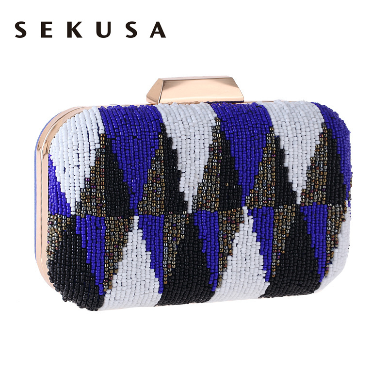 SEKUSA New Beaded V Shaped Evening Clutch  Bag Vintage Embroidery Lady Wedding Party Handbags For Christmas Gift Purse<br>