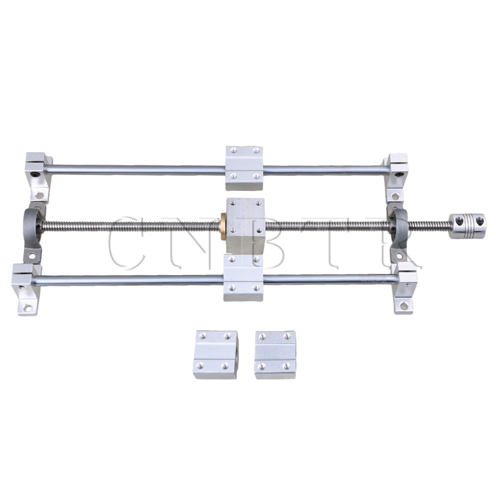 CNBTR Horizontal Linear 200mm Optical Axis &amp; T8 Lead Screw Dual Rail Support CNC Bearing Block &amp; Stepper Coupler Support Set <br>