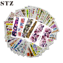 48pcs Mixed 48 Designs Flower Nail Art Full Wraps Nail Foils Nail Art Sticker Decals Water Transfer Tips STZ352-391
