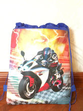 12 pcs /lot motorcycle printed backpack for kids swimm stuff supply school bag shoe bag Backpack shoe bags for girls,boys party