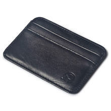 Simple Men Genuine Leather Credit Cards Case Mini Card Wallet Men Thin Sheepskin Business Bank Cards Holder ID Cards Black Purse(China)