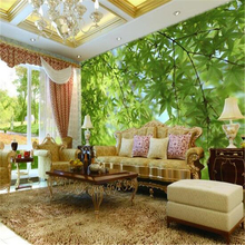 beibehang Custom Photo Wallpaper 3D Stereo Large Murals Green leaves scenery living room sofa bedroom flash silver cloth mural