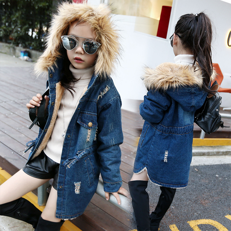 New Childrens Wear Winter Girls Korean Add Fur Thickening Waist Collars with Cap Coat Kids Clothing Denim Blue<br><br>Aliexpress