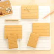 Simple Kraft Paper Line Self-Adhesive Memo Pad Sticky Notes Sticker Label Escolar Papelaria School Office Supply(China)