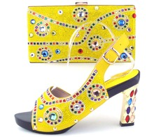 Nice high heel Italian design pumps shoes and handbag sets with stones for wedding/party TH16-43 in yellow