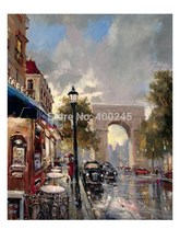 Brent Heighton oil Painting Canvas Arc De Triomphe Avenue High quality Landscape Art French Streets Scenes Hand painted