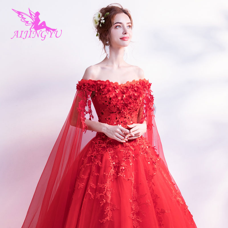 AIJINGYU 2018 sweet free shipping new hot selling cheap ball gown lace up back formal bride dresses wedding dress TJ149