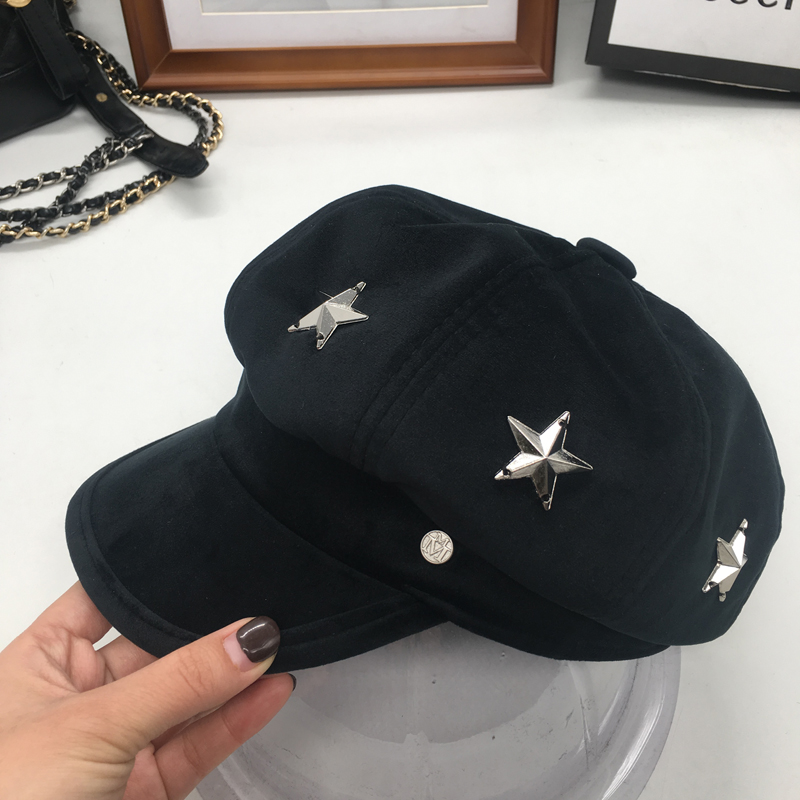 The New England velvet octagonal cap M standard stars retro fashion all-match equestrian hat and cap Zichao<br>
