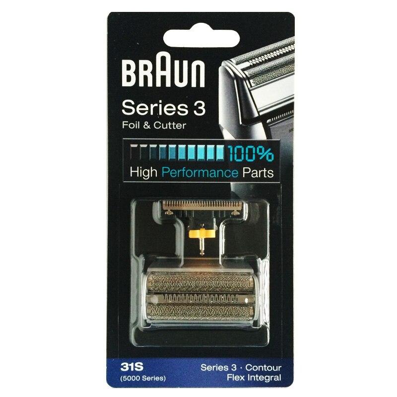 Braun 31S (5000 series) Foil &amp; Cutter Replacement Silver Color Contour Flex XP Integral Shaver( 5775 5875 5877 5895 6520 5000 )<br>