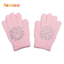 10 Colors Magic Wrist Gloves Figure Skating Ice Training Gloves Exquisite Warm Fleece Thermal Safety Child Adult Snow Rhinestone(China)