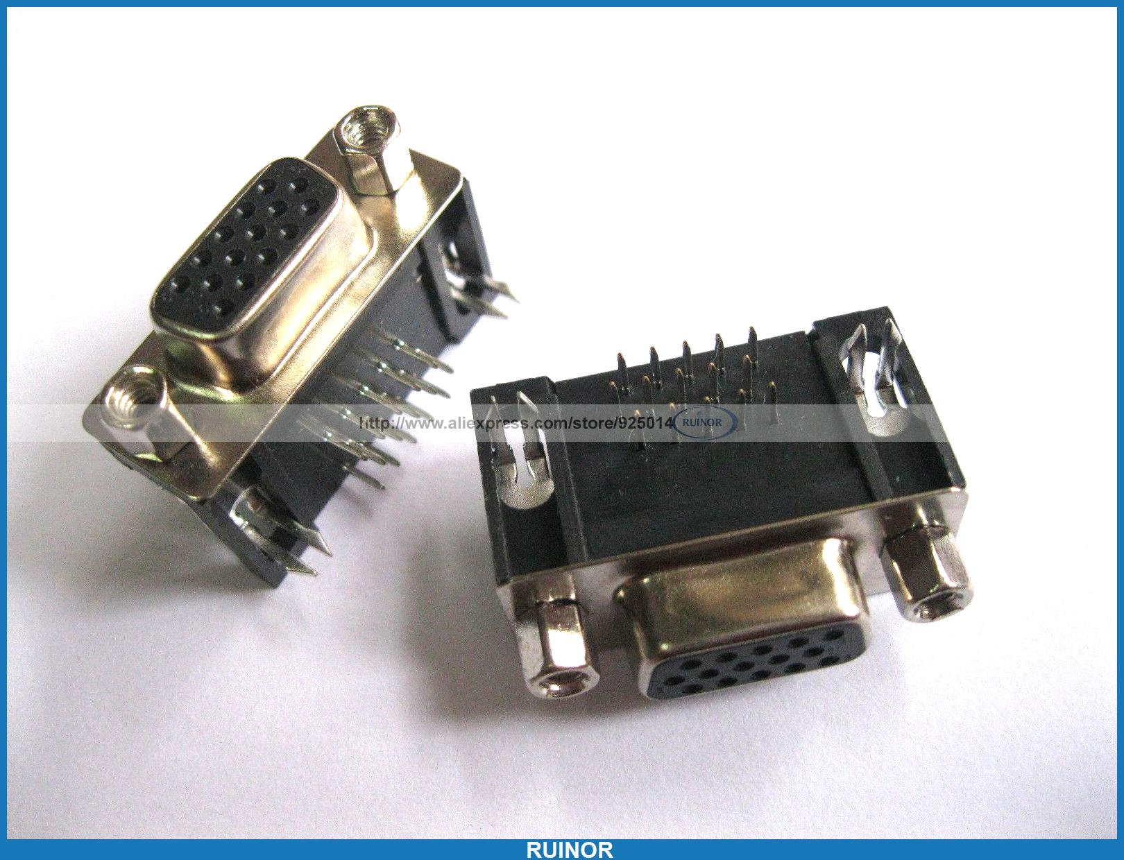 24 Pcs D Sub 15 Pin Female Connector Right Angle 3 Rows <br><br>Aliexpress