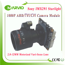 "1080P 2.1MP Startlight AHD-H 2.8-12mm Motorized Zoom Auto Focal Lens 1/2.8"" Sony IMX291 AHD / CVI / TVI CCTV Camera Module Board"