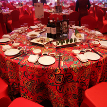 New Pattern Red Home Table Cloth Cotton And Linen Wedding Party Dinner Table Cover print flower table Linen decoration(China)