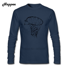 Basket ball Net Used Look Retro T Shirt Men Normal 100% Cotton Long Sleeve Tshirt Teenage Clothes Top Printed Tee Shirt For Male(China)
