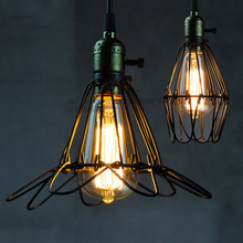 American Industrial Single Droplight European Country Vintage Black Metal Wire Pendant Lights Fixture Home Indoor Lighting Lamps