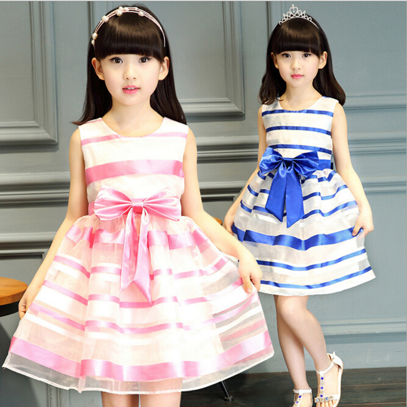 New Summer Girls Pink/White Striped Dress Sleeveless Princess Bow-knot Dresses For Girls 6-15Y Kids Costume Children Clothing<br><br>Aliexpress