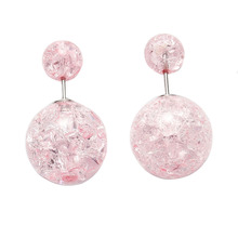 Doreen Box Acrylic Double Sided Ear Post Stud Earrings Ball Pink AB Color Crack Pattern 8mm Dia. 16mm Dia.,1 Pair