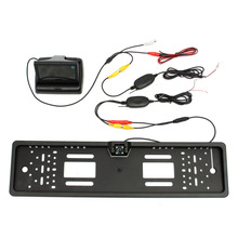 Car Rear View Kit European License Plate Reversing Camera+4.3 Inch TFT Monitor+Wireless Adapt Car Truck 120 Degree