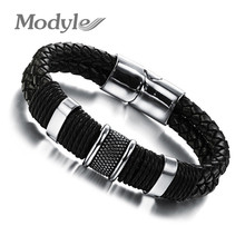 Modyle Handmade Genuine Leather Weaved Double Layer Man Bracelets Casual/Sporty Bicycle Motorcycle Delicate Cool Men Jewelry