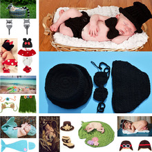 Latest Black Color Baby Boy Crochet Hat Bow Tie Pants Set Knitted Gentleman Style Infant Boy Photo Props 1set MZS-15021(China)