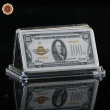 WR US 100 Dollar Commemorative Colorful Silver Banknote Metal Bar 24k 999.9 Silver Bars Art Ornament Value Collection